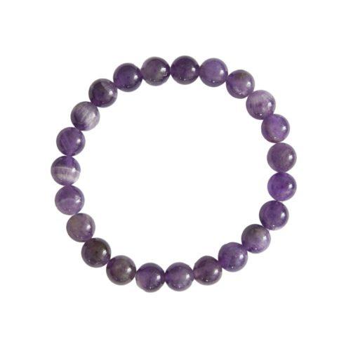 bracelet améthyste pierres boules 8mm