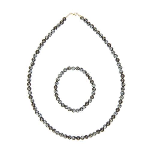 Snowflake Obsidian Gift Set - 6 mm Bead