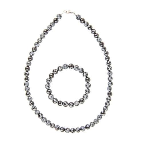 Snowflake Obsidian Gift Set - 8 mm Bead