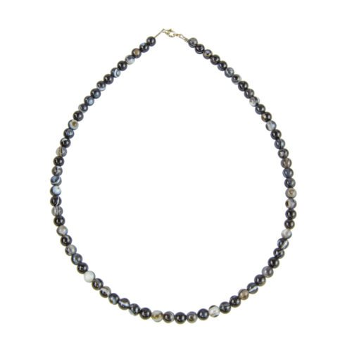 Banded Black Agate Necklace - 6 mm Bead