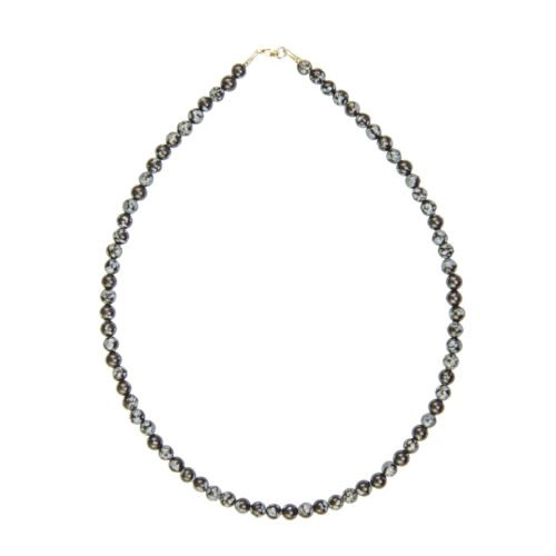 Snowflake Obsidian Necklace - 6 mm Bead