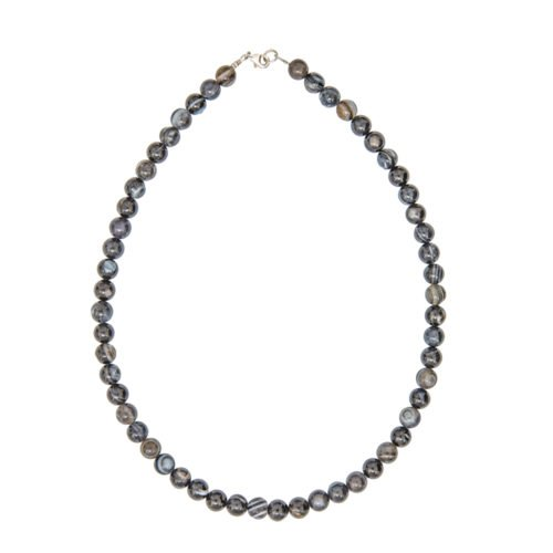 Banded Black Agate Necklace - 8 mm Bead