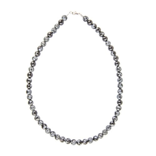 Snowflake Obsidian Necklace - 8 mm Bead