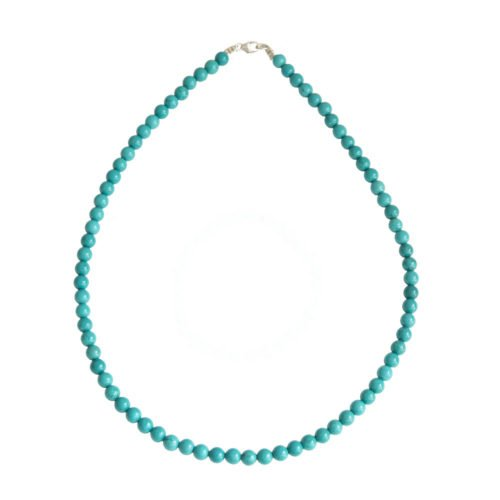 collier turquoise pierres boules 6mm