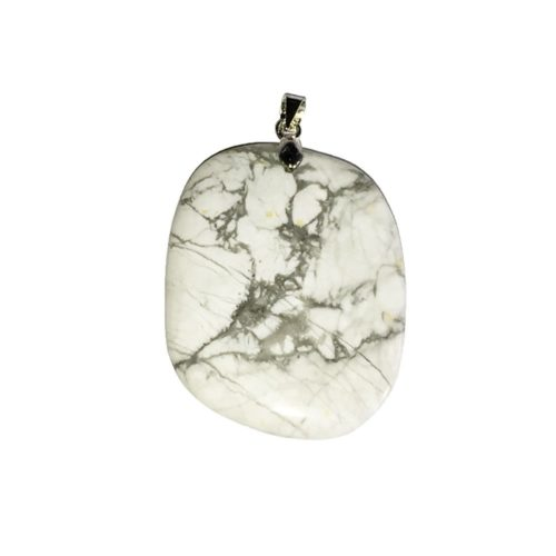 Howlite Pendant - Flat Stone