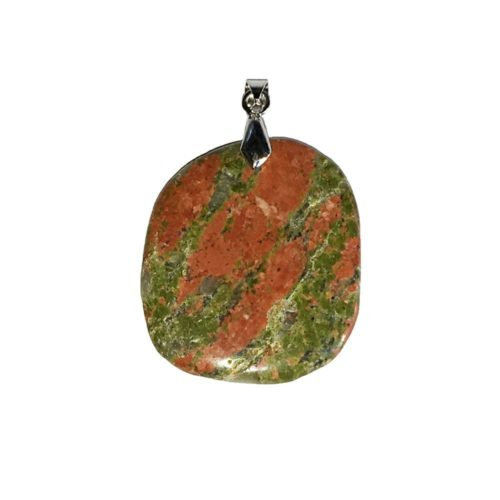 pendentif unakite pierre plate