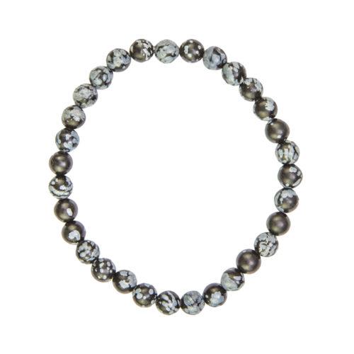Snowflake Obsidian Bracelet - 6 mm Bead