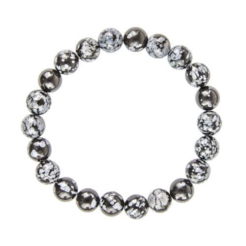 Snowflake Obsidian Bracelet - 8 mm Bead