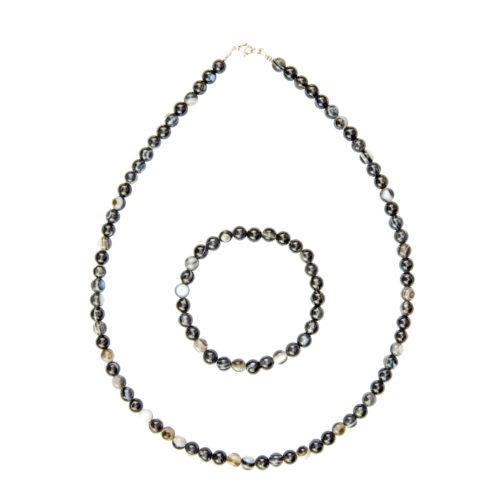 Banded Black Agate Gift Set - 6 mm Bead