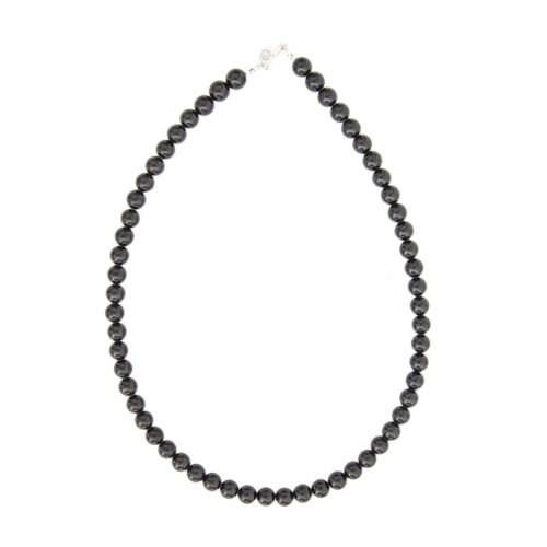 Black Agate Necklace - 8 mm Bead