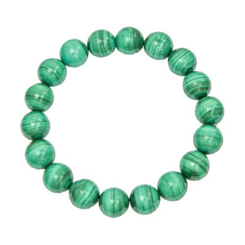 bracelet malachite pierres boules 10mm