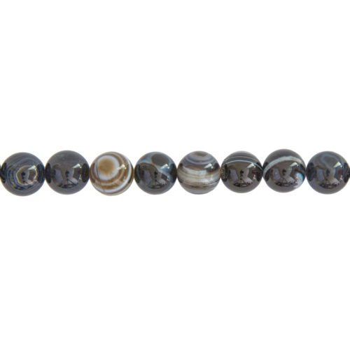 Banded Black Agate Line - 12 mm Bead