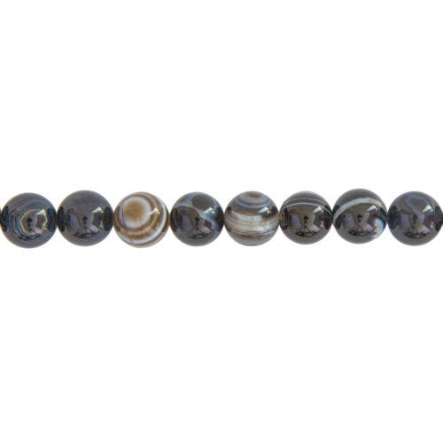 Banded Black Agate Line - 12 mm Bead