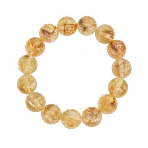bracelet citrine pierres boules 12mm