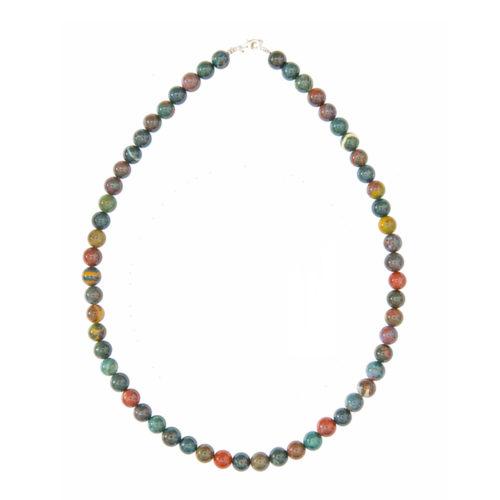 Heliotrope Jasper Necklace - 8 mm Bead