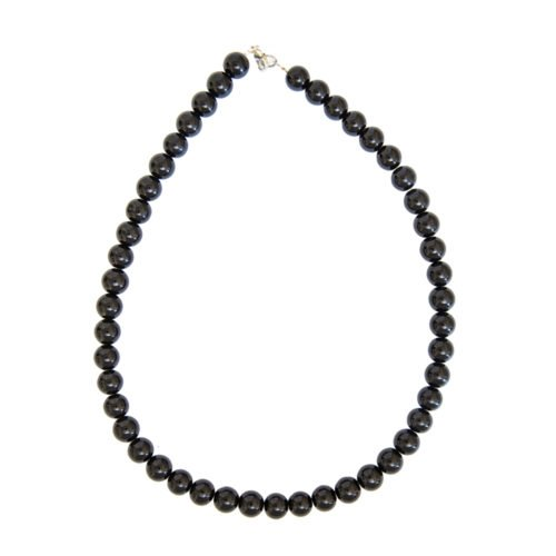 Black Agate Necklace - 10 mm Bead