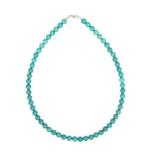 collier turquoise pierres boules 8mm