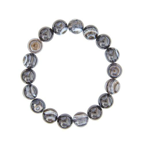 Banded Black Agate Bracelet - 10 mm Bead