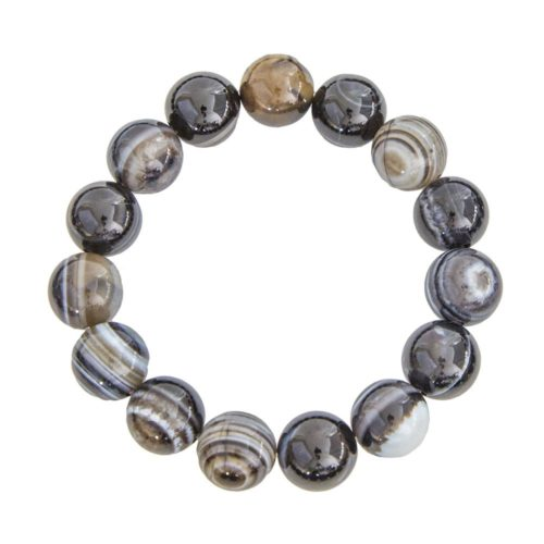 Banded Black Agate Bracelet - 12 mm Bead