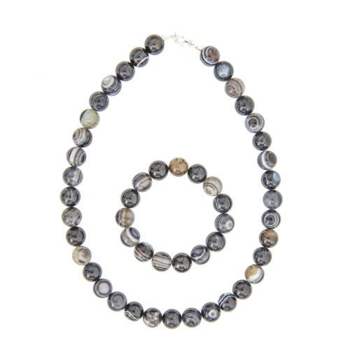 Banded Black Agate Gift Set - 12 mm Bead