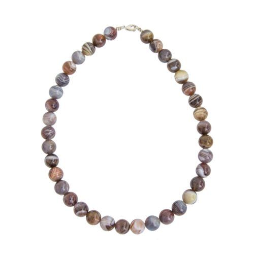 Botswana Agate Necklace - 12 mm Bead