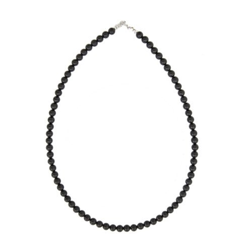 Black Agate Necklace - 6 mm Bead
