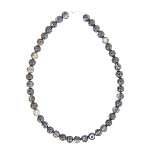 Banded Black Agate Necklace - 10 mm Bead