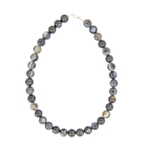 Banded Black Agate Necklace - 12 mm Beads