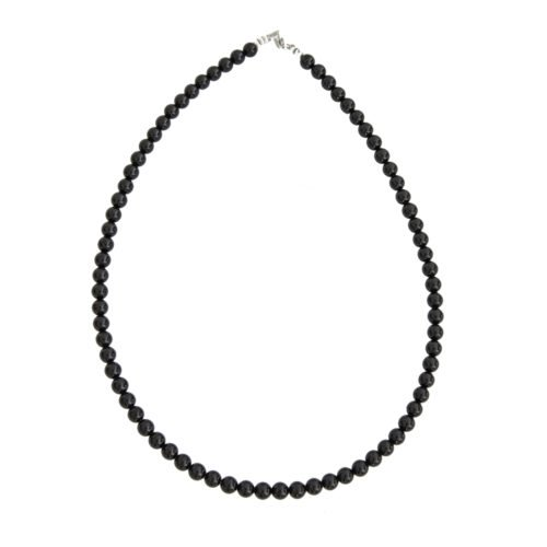 Black Tourmaline Necklace - 6 mm Bead