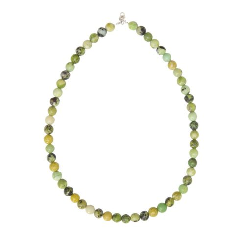 Lemon Chrysoprase Necklace - 8 mm Bead