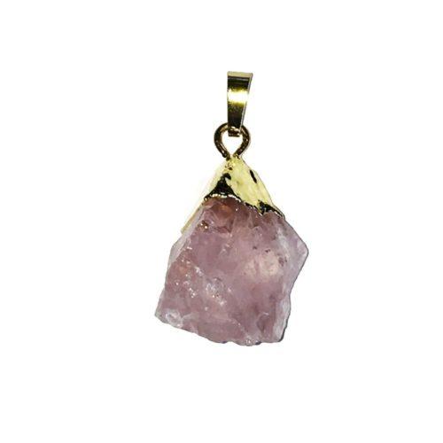 pendentif quartz rose pierres brute