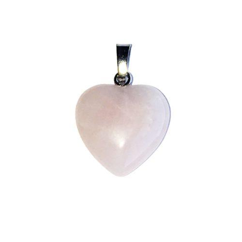 pendentif quartz rose petit coeur
