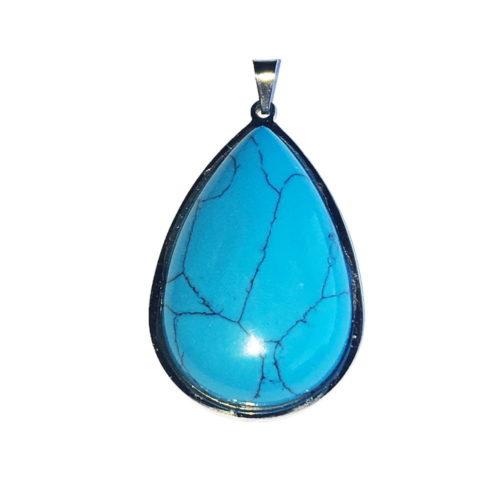 Turquoise Pendant - Steel Mounted Teardrop