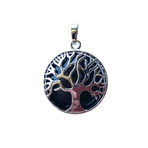 Black Agate Pendant - Tree of Life