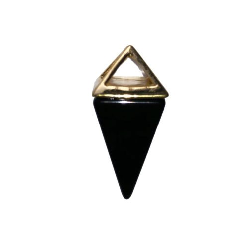 Black Agate Pendant - Gold Pyramid
