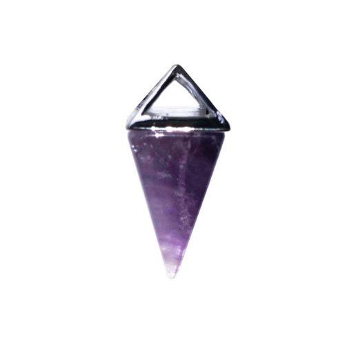 Amethyst Pendant - Silver Pyramid