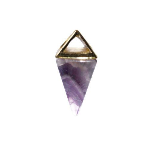 Amethyst Pendant - Gold Pyramid