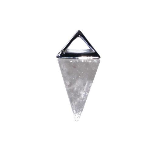 Rock Crystal Pendant - Silver Pyramid