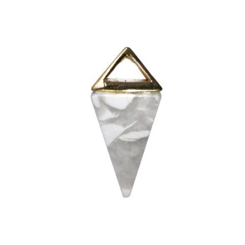 Howlite Pendant - Gold Pyramid
