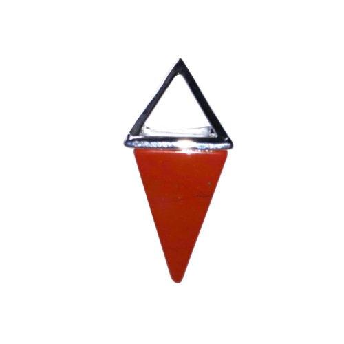 Red Jasper Pendant - Silver Pyramid
