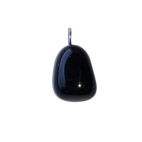 pendentif obsidienne noire pierre roulée