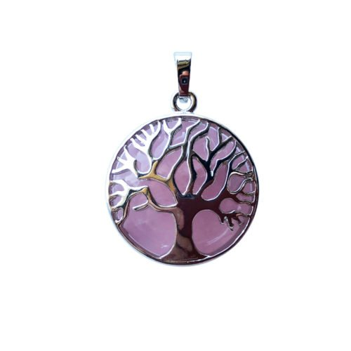 pendentif quartz rose arbre de vie