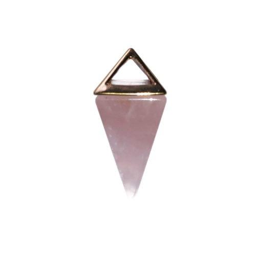 pendentif quartz rose pyramide or