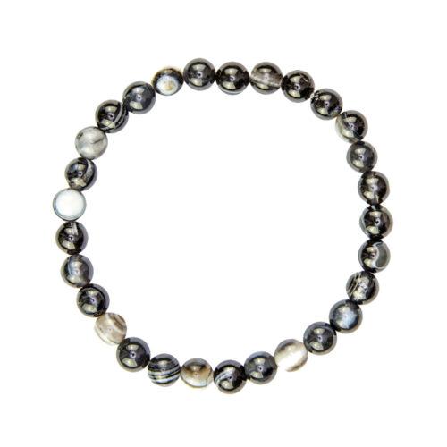 Banded Black Agate Bracelet - 6 mm Bead