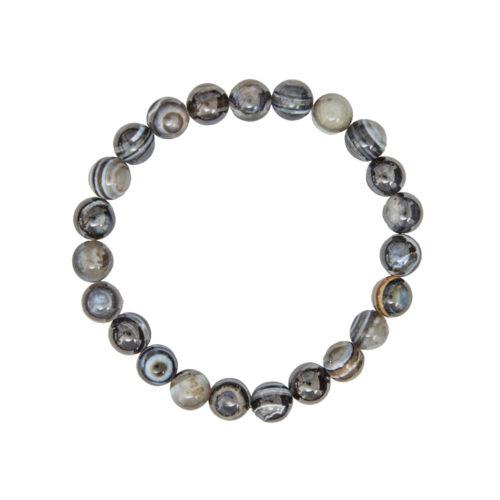 Banded Black Agate Bracelet - 8 mm Bead