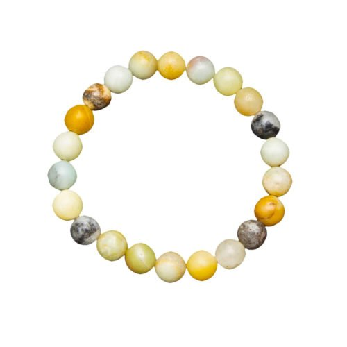 bracelet amazonite multicolore pierres boules 8mm