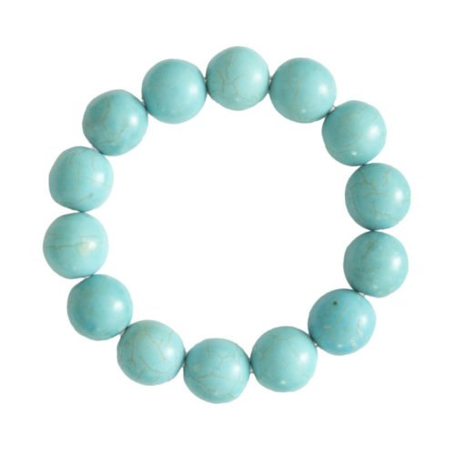 Blue Howlite Bracelet - 14 mm Bead