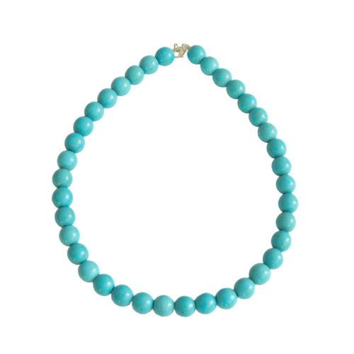 Blue Howlite Necklace - 12 mm Bead