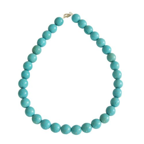 Blue Howlite Necklace - 14 mm Bead