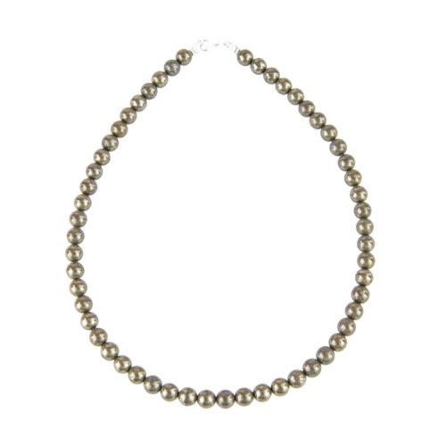 Iron Pyrite Necklace - 8 mm Bead